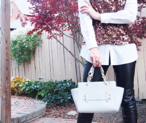 Holiday office party look with Cocovann slip through leather satchel