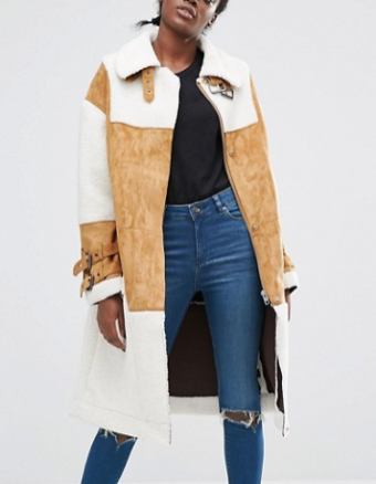 Asos faux shearling coat