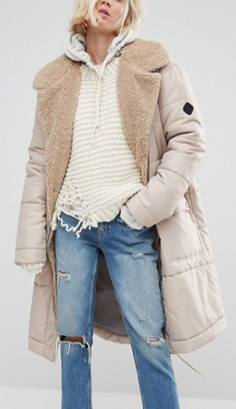 Asos puffer coat with shearling collar