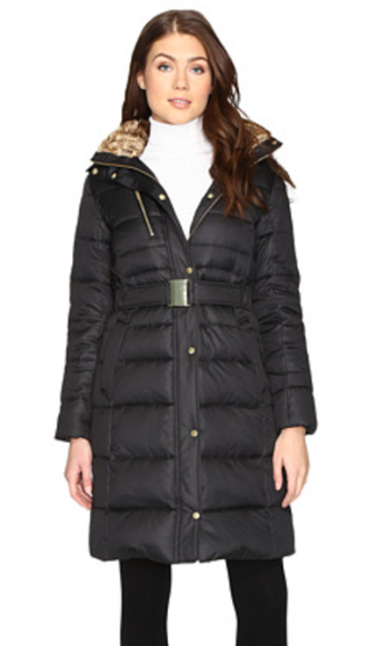 Belted down coat with fur lining