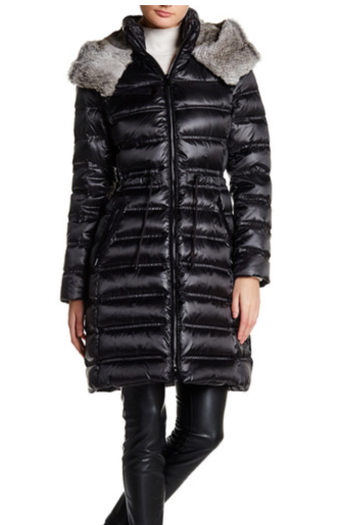 Fur hood down jacket
