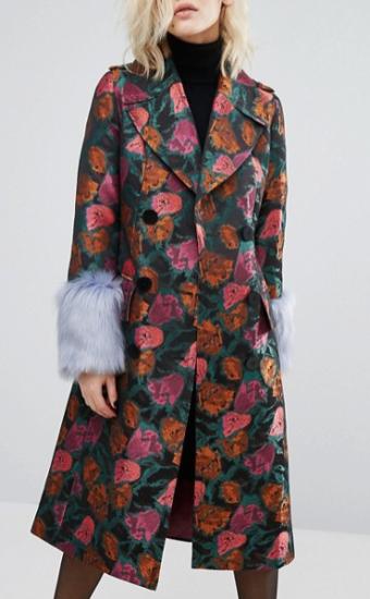 Floral jaquard coat