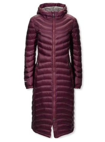 Long maroon down coat
