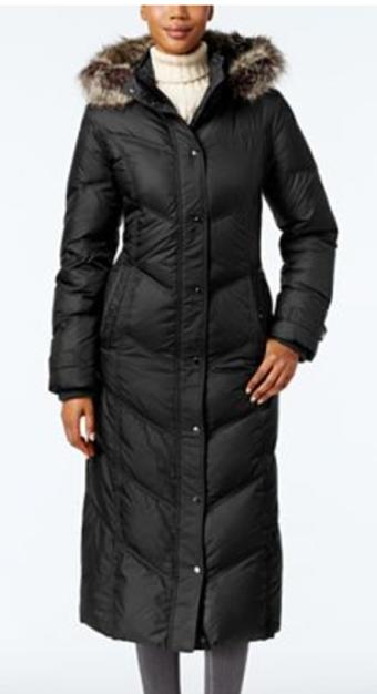 Fur hood long puffer coat
