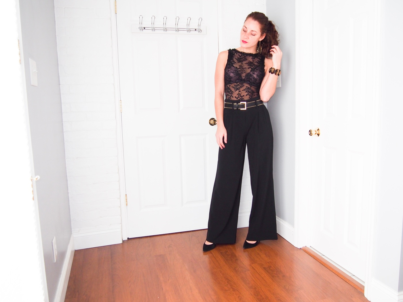 Lace top and wide leg pant
