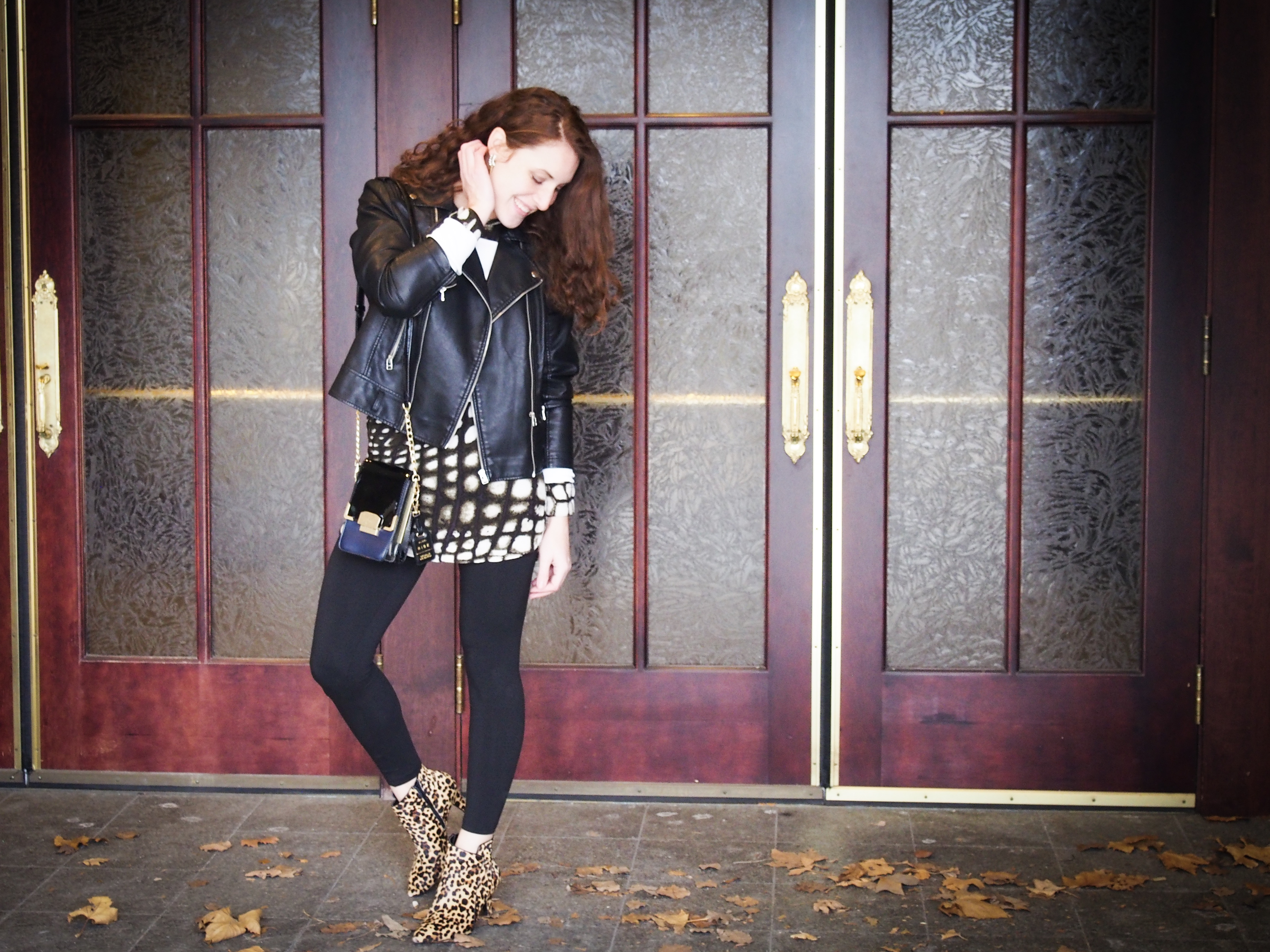 Leopard booties and mango leather jacket