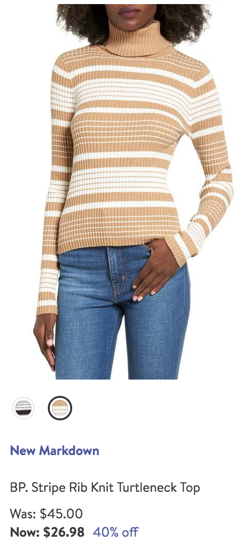 camel striped turtle neck
