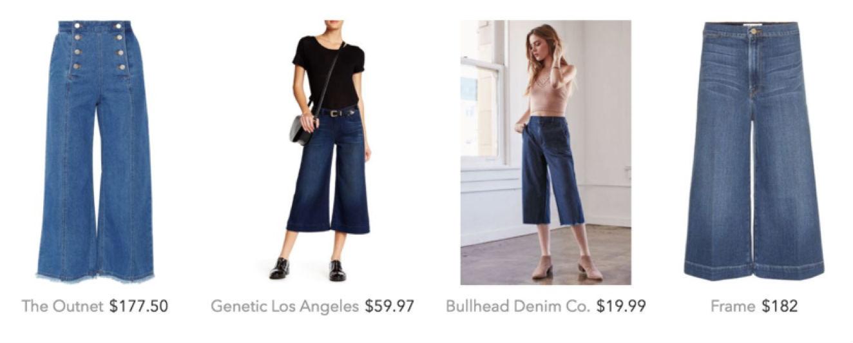 Shop denim culottes