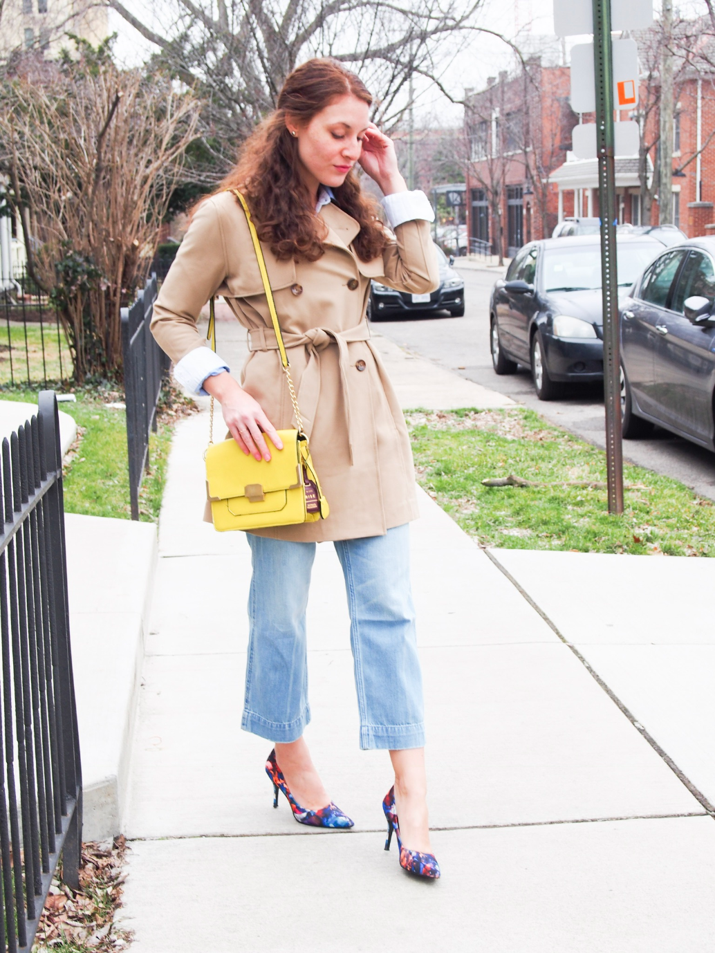 Tan belted trench coat