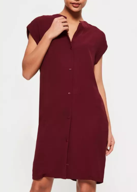 Burgundy shirt dress