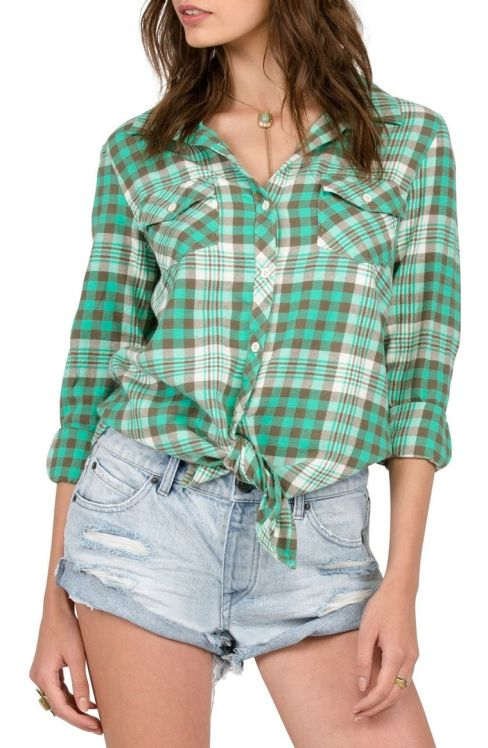 Plaid green top