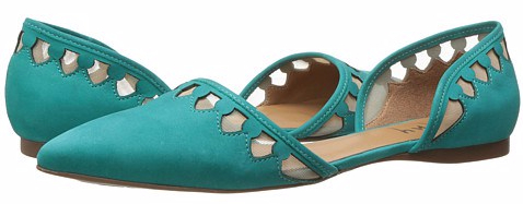 green pointed toe flats