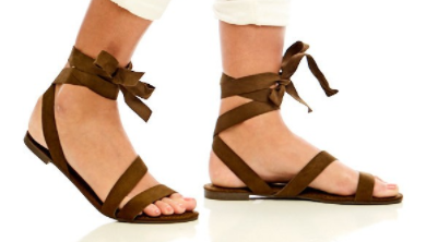 green lace up sandal