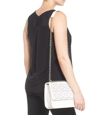 White perforated shoulder bag
