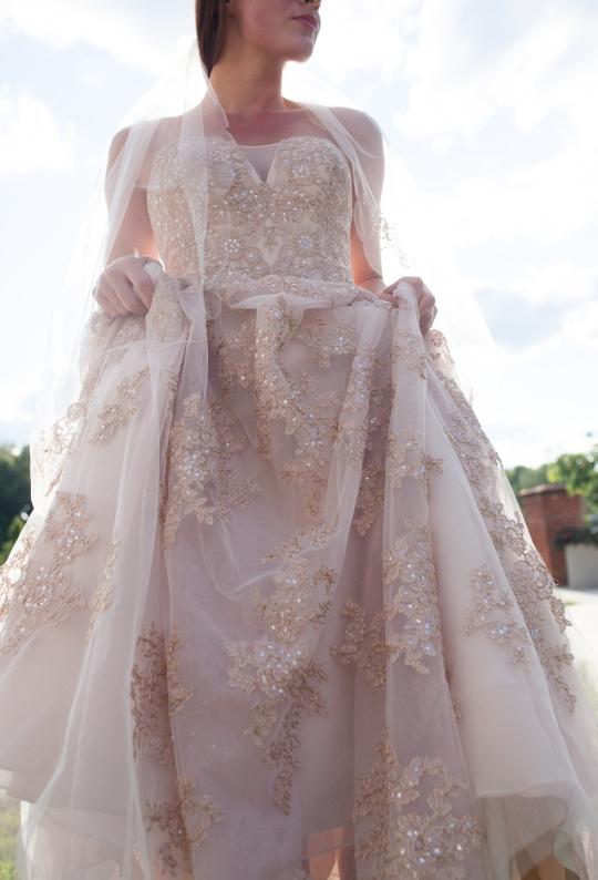 Blush beaded wedding dress