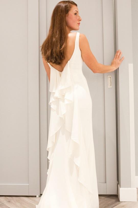 Davids bridal ruffle back dress