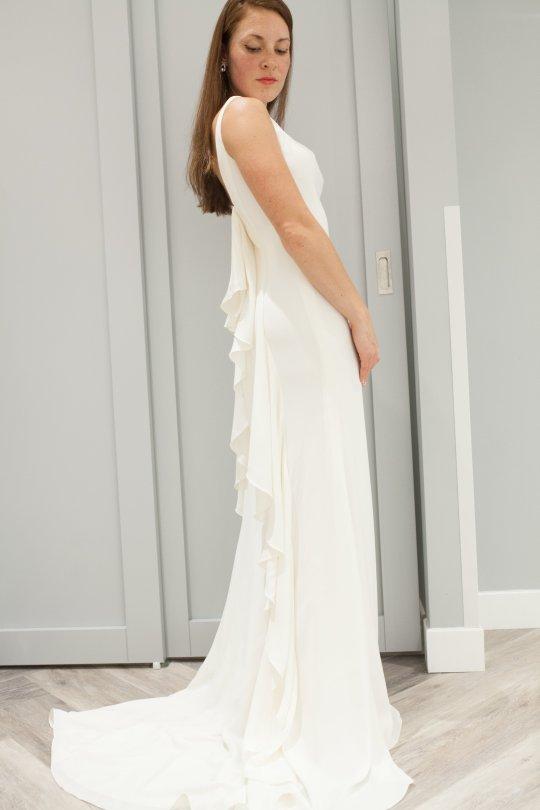 Ruffle back wedding dress