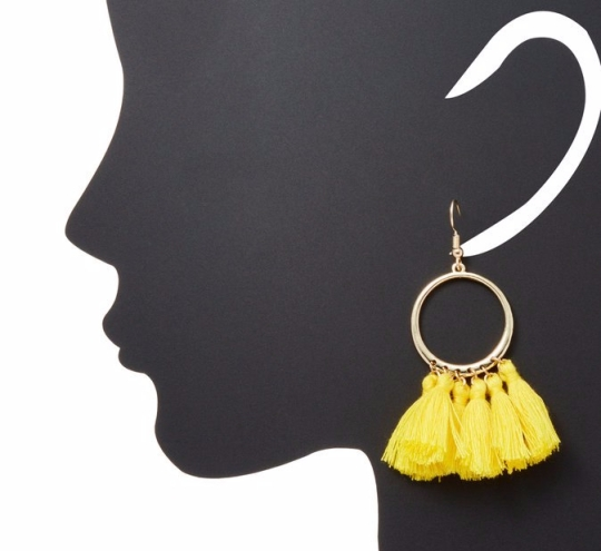 yellow tassel earring