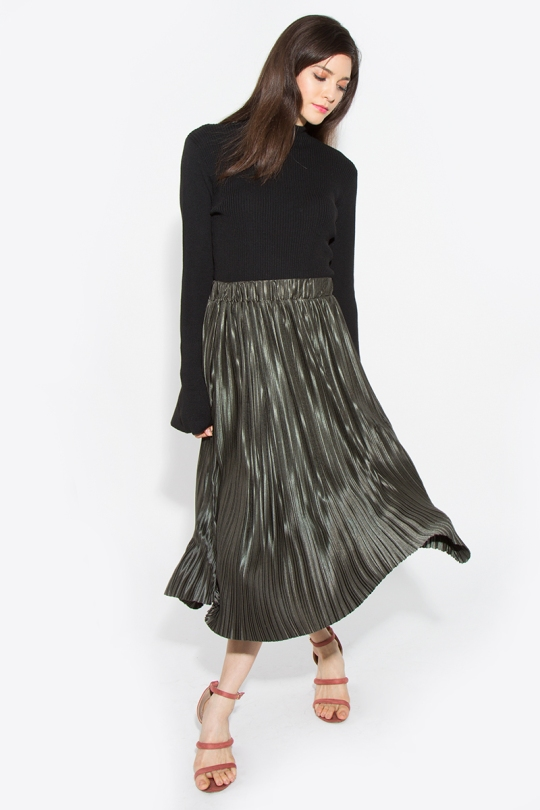 Metallic green skirt