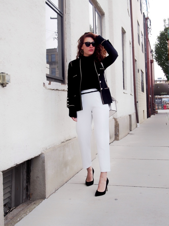 Classic black and white outfit