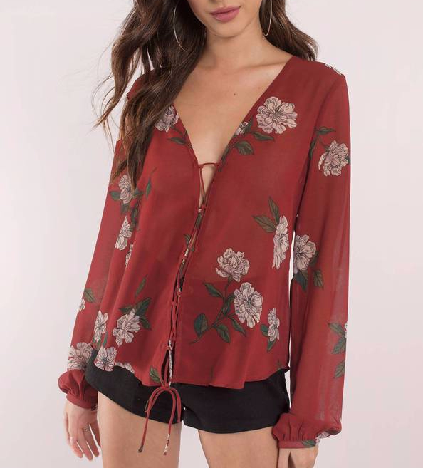 Tobi burgundy floral top