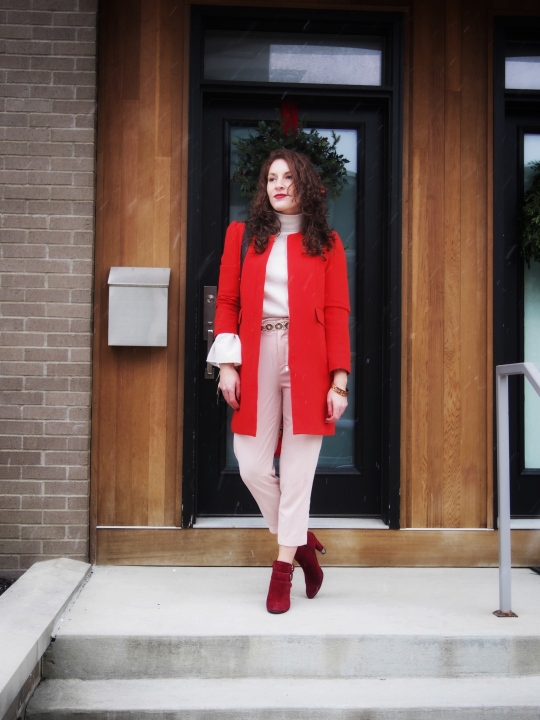 Women's bright red coat