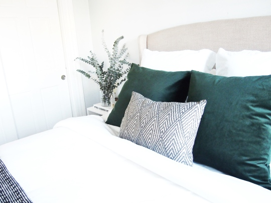 Dark green velvet pillow covers