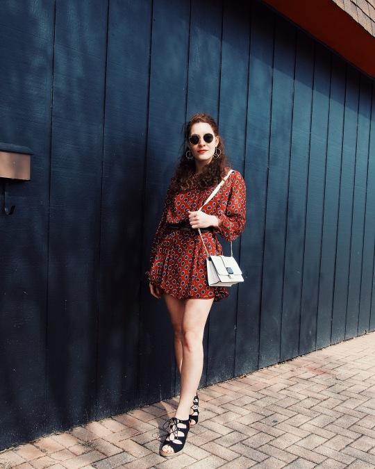 Red polka dot dress