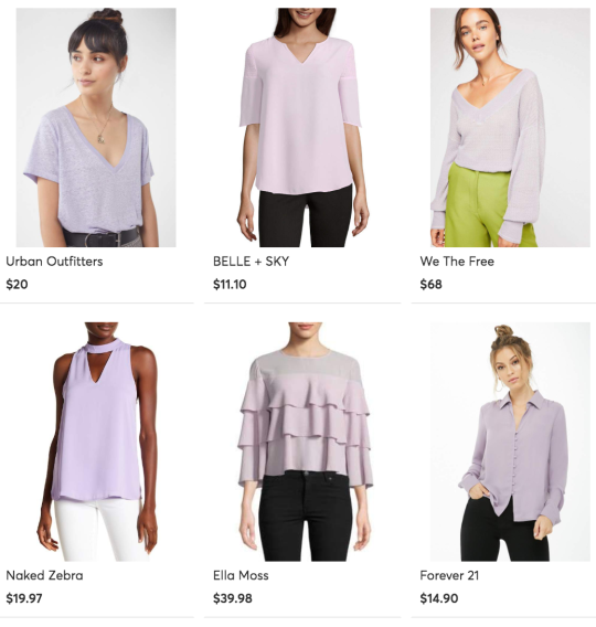 Womens lavender tops